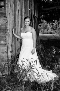 Bride in Smoky Mountain rural setting by Kathy Smith Photography