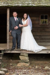 Mr and Mrs posing pretty at Tipton Place in Cades Cove by Kathy Smith Photography