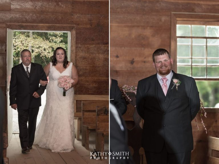 Walking down the isle to meet her groom with Dad by her side