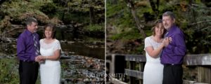 Wedding portraits at the creek at Abrams Falls in Cades Cove