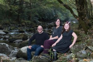 Family portraits on the creek in the Smoky Mountains